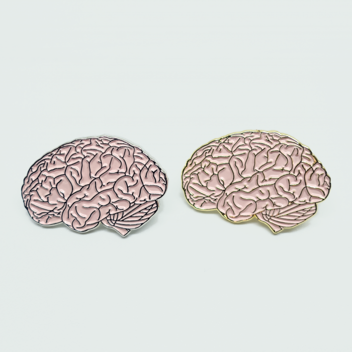 2x brain variations - gold and silver nickel