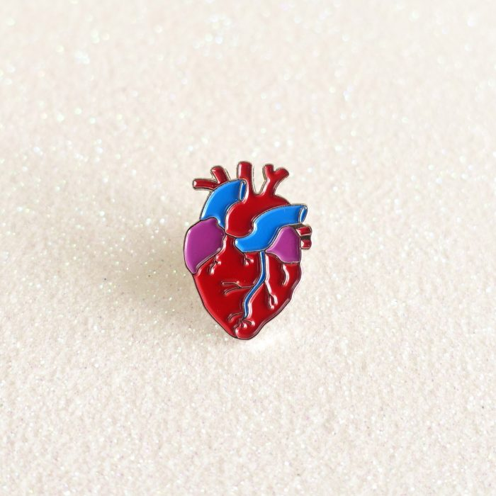 anatomical heart - silver