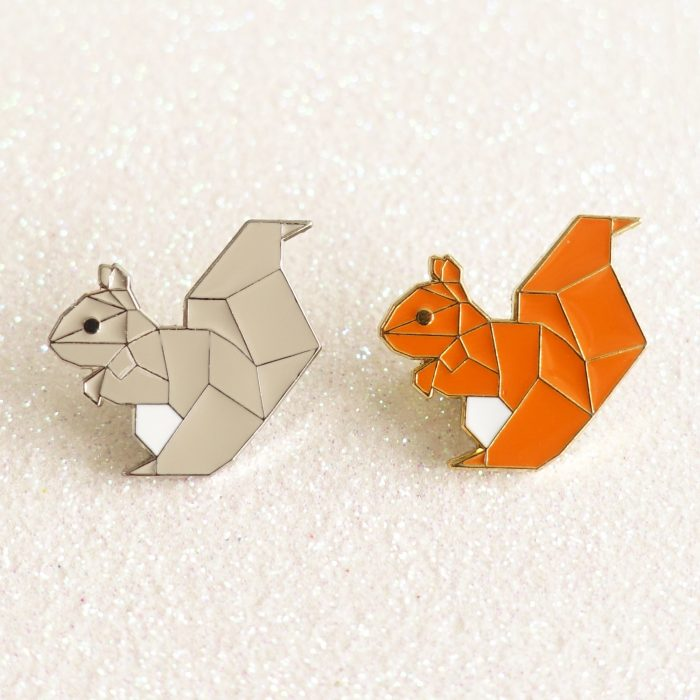 2x squirrel pins - grey and red