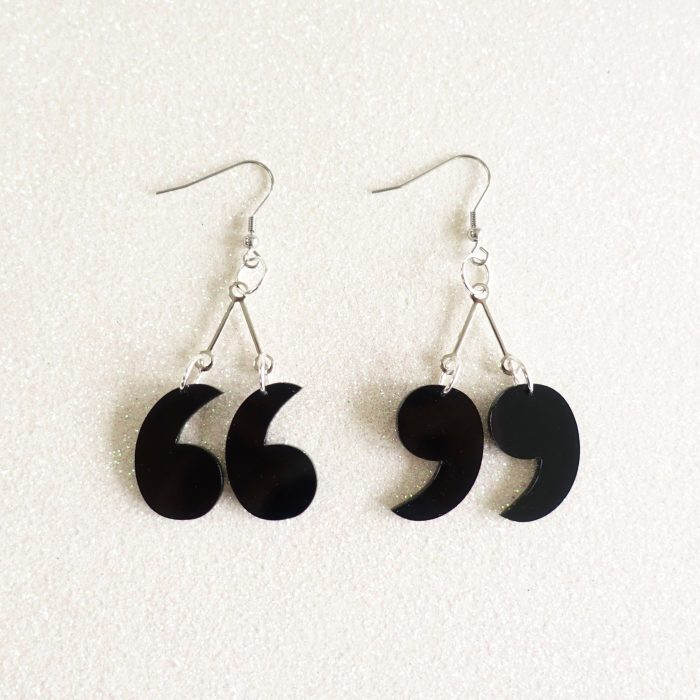 speech mark drop earrings