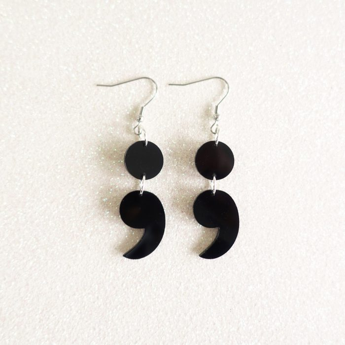 semicolon drop earrings